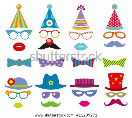 Birthday party photo booth props vector set. Party decoration for photo booth, birthday mask photo booth, costume for masquerade photo booth illustration - stock vector