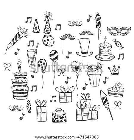 Birthday Party Set Icons Or Elements Using Doodle Hand Drawing Style On White Background