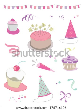 Birthday Party Vector Collection With Confetti, Birthday Party Hats, Streamers, Flag Garland Bunting, Cupcakes, and Ribbons - stock vector