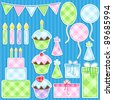 Birthday party vector elements set. - stock photo