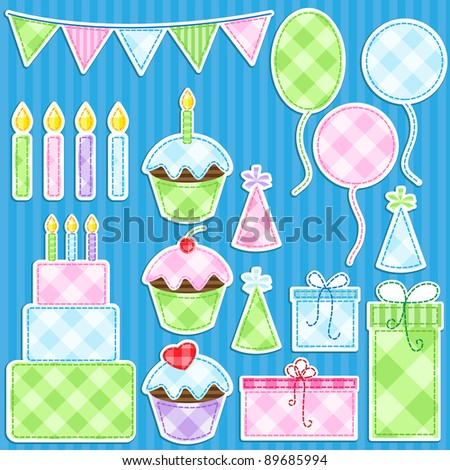 Birthday party vector elements set. - stock vector