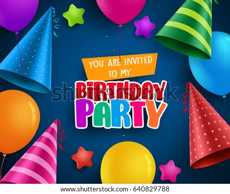 Birthday Party Vector Invitation Greeting Card Stock Vector 2018
