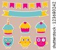 Birthday party vector stickers set - stock vector