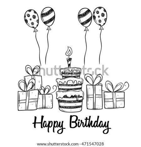 Birthday party cake balloon gift using stock vector 471547028 birthday party with cake balloon and gift using doodle art negle Images