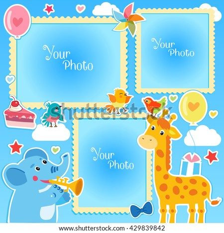 Birthday Photo Frames With Giraffe and Elephant. Decorative Vector Template For Baby, Family Or Memories. Birthday Children's Photo Framework.