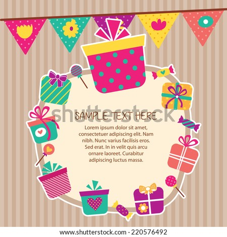 birthday presents layout frame design - stock vector