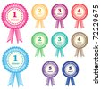 Birthday rosettes for children from 1 year to 5 years in assorted boy and girl colors. Isolated on white. Raster also available. - stock
