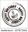 Birthday round seal with different icons, vector illustration - stock vector