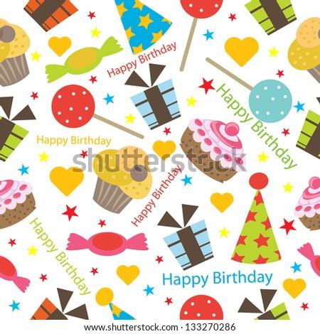 birthday seamless pattern - stock vector