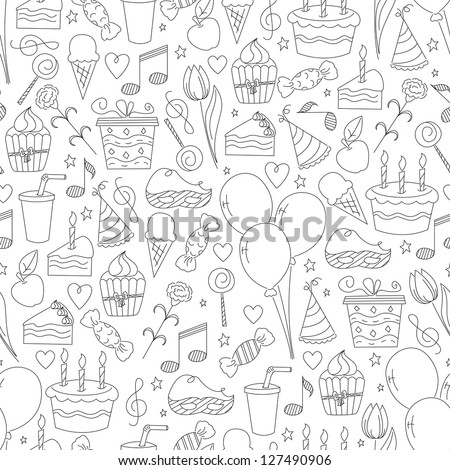 Birthday seamless pattern. Hand drawn sketch illustration - stock vector