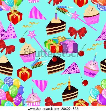 Birthday seamless pattern with cakes, cupcakes, balloons, gifts on blue background. Colourful birthday wallpaper. eps10 vector illustration - stock vector