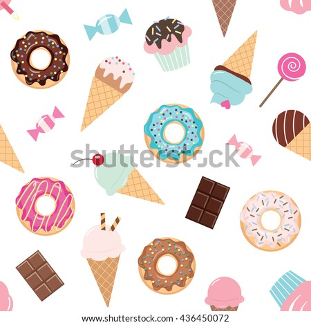 Birthday seamless pattern with sweets - ice cream, donuts, cupcakes, chocolate bar, candies. - stock vector
