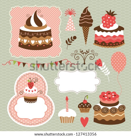 Birthday set, cute cakes - stock vector