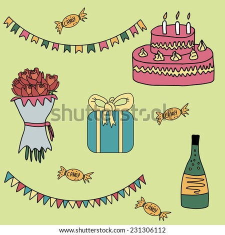 Birthday set. Vector illustration in cartoon style with gift, garlands, champagne, candies, bouquet of roses, cake with candles. - stock vector