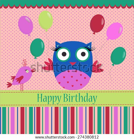Birthday template with colorful owl, bird and bubbles on a spotted background for your greeting card - stock vector