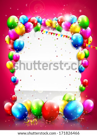Birthday template with flying balloons and empty paper on red background  - stock vector