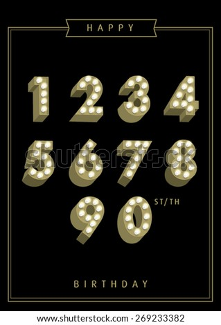birthday template with lightbulb numbers vector/illustration - stock vector