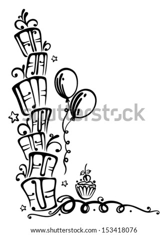 Birthday tendril with gifts - stock vector
