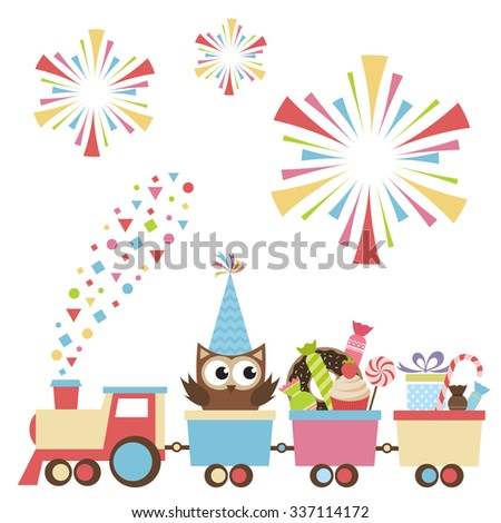 Birthday toy train with owl and sweets - stock vector