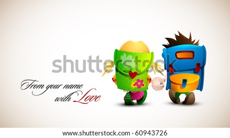 Birthday, Valentine Love Card | Boy and girl holding hand walking together | Detailed Vector Illustration | Layers named accordingly - stock vector