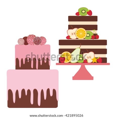 Birthday, valentine's day, wedding, engagement. Set cake, strawberry pink cream chocolate sprinkles, cake pops, cake decorated with fresh fruits berries, pastel colors on white background. Vector - stock vector