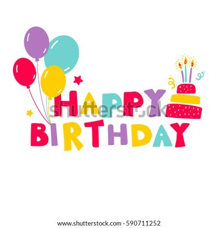 Birthday vector card inscription happy birthday stock vector birthday vector card with inscription happy birthday birthday cake and balloons bookmarktalkfo Choice Image