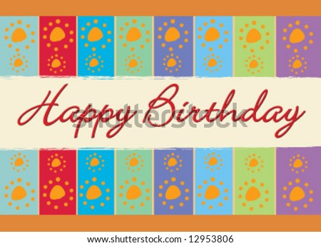 Birthday vector colorful greeting card - stock vector