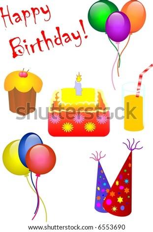Birthday vector icons - stock vector