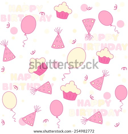 Birthday web background / seamless pattern with colorful birth day themed graphics - stock vector