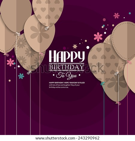 Birthday wish with balloons in the style of flat folded paper. - stock vector