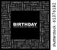 BIRTHDAY. Word collage on black background. Illustration with different association terms. - stock vector