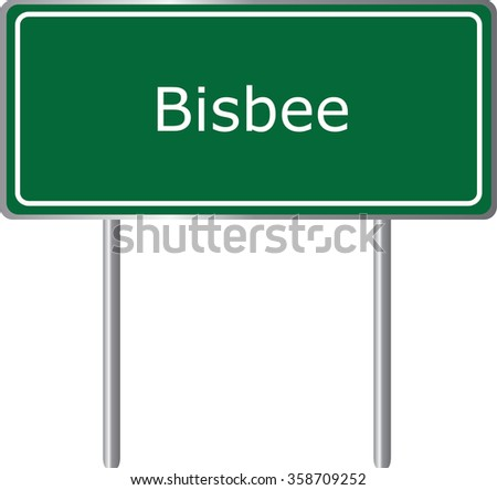 Bisbee, Arizona, road sign green vector illustration, road table, USA city - stock vector