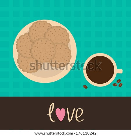 Biscuit cookie cracker on the plate and cup of coffee with coffee beans. Vector illustration. - stock vector