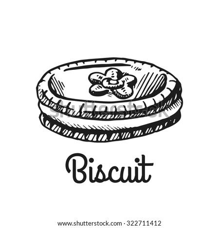 Biscuit. Isolated with the inscription. Graphic art. Hand drawing - stock vector