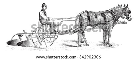Bisoc seat and unearthing, vintage engraved illustration. Industrial encyclopedia E.-O. Lami - 1875. - stock vector