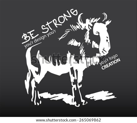 Bison chalk freehand hand drown with typography and slogan, animals wild design - stock vector