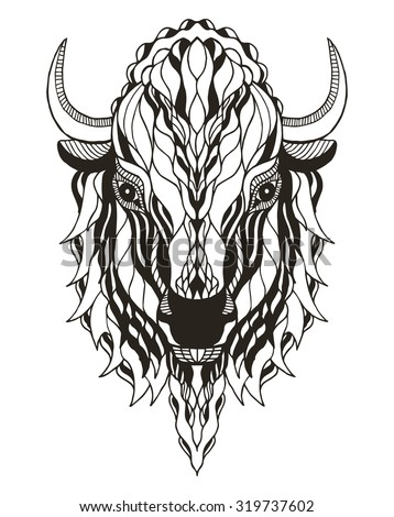 Bison head zentangle stylized, vector, illustration, freehand pencil, hand drawn, pattern. Print for t-shirts, mobile cover design