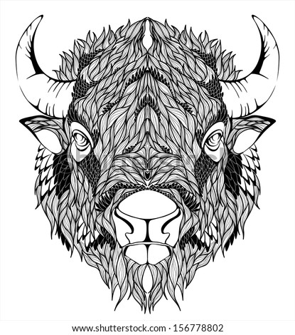 Bison Mascot Head - stock vector
