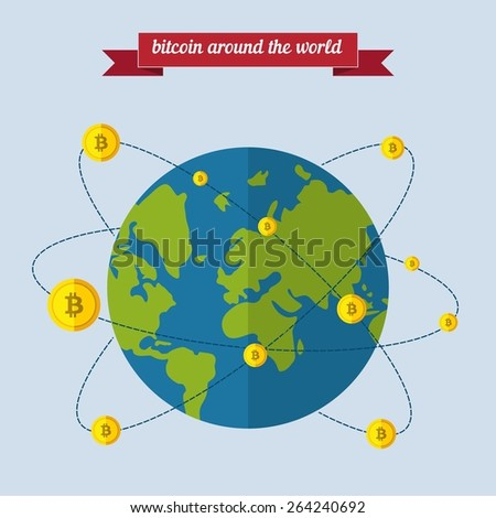 Bitcoin around the world. Flat style design - vector. - stock vector