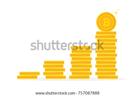 Bitcoin Benefits Like Gold Coin Stack Simple Flat Trend Modern Logo Graphic Infographics Design Isolated