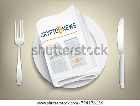 Bitcoin blockchain news newspaper on plate, fork and knife on the sides. Mining internet currency press. Financial business crypto electronic currency. Modern and future internet money symbol