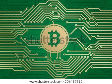 Bitcoin circuit - stock vector