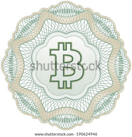 Bitcoin (cryptocurrency) guilloche elements for certificate, diploma, voucher, currency and money design, banknote. / Stock vector / CMYK color / All lines and color are easy editable. - stock vector