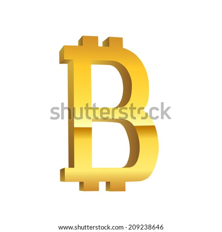 Bitcoin golden currency symbol - stock vector