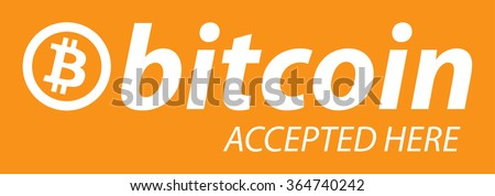 "Bitcoin icon banner with text ""bitcoin accepted here"". Flat design vector illustration. - stock vector"