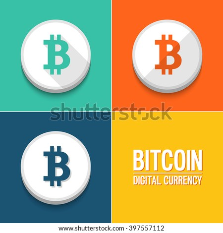 Bitcoin icons set. Vector illustration. - stock vector