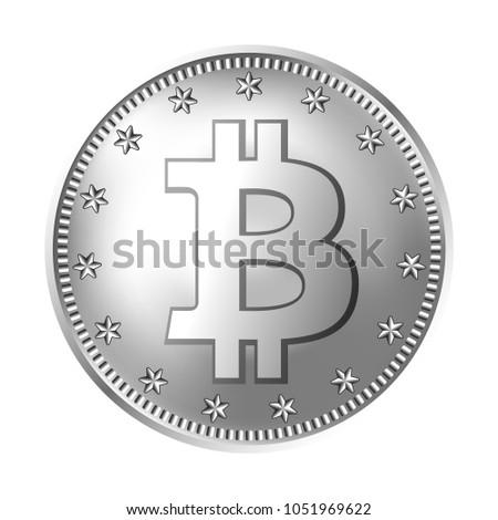 Bitcoin Silver Coin Money Finance Symbol Stock Vector 1051969622