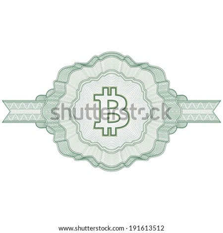 Bitcoin virtual money. Guilloche elements for certificate, diploma, voucher, currency and money design, banknote. / Stock vector / CMYK color / All lines and color are easy editable. - stock vector