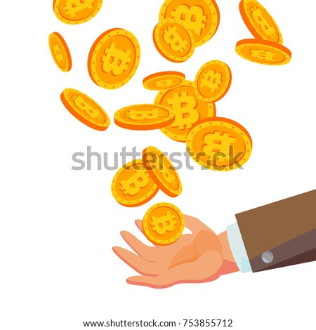 Bitcoins Falling To Business Hand Vector Flat Cartoon Gold Coins Illustration Cryptography Finance