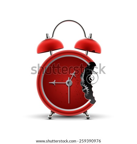 bitten red alarm clock  - stock vector